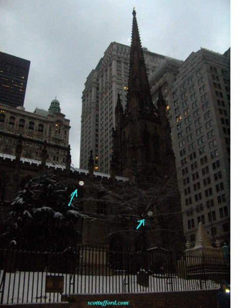Two beautiful angel or spirit images? At historic Trinity Church, Broadway, New York by Scott Ufford