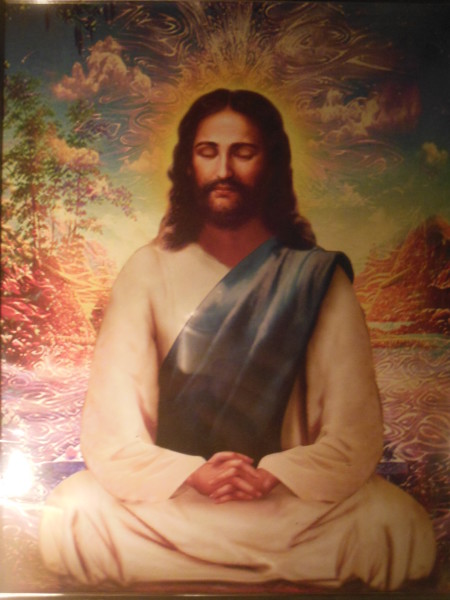 Jesus in deep meditation with His Heavenly Father